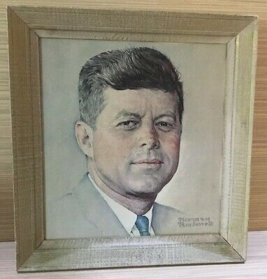 Framed Art, Portrait of President John F Kennedy on Canvas. Norman Rockwell