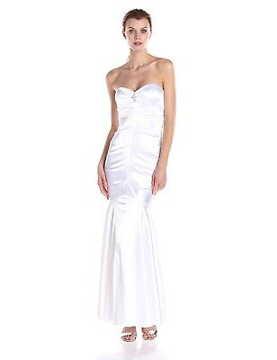XSCAPE Women's Sweetheart Strapless Long Gown with Embellishment - WHITE - 12
