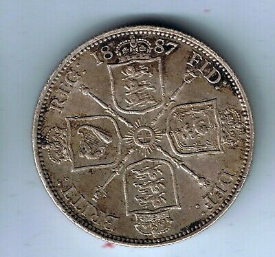 1887 Victoria sterling silver florin two shilling coin - 11.2g