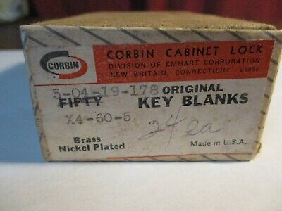 Lot Of 18 Corbin Cabinet Lock Key Blanks No. With Original Box Free Shipping