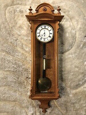 Vintage Antique Wien Vienna Strikes Wall Clock W One Weight Driven And Pendulum