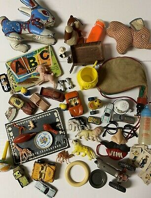 47 piece LOT of Vtg Antique Junk Drawer Child's Toy Lot~Cars, Animals, & MORE