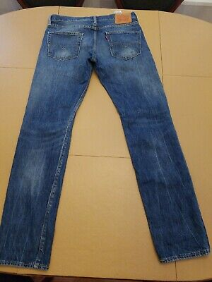 Levi 511 Men's 33 X 34 Blue Light Wash Slim Fit Stretch ripped distressed