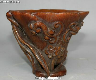 Rare Old China Ox Horn Dragon Pixiu Beast Plum Blossom Wine Cup Wineglass Goblet