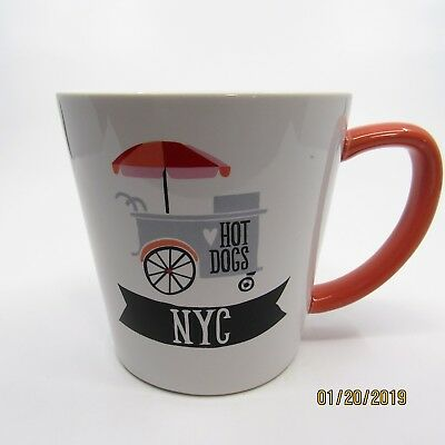 NYC HOT DOGS COFFEE CUP MUG New York City White Black Orange Spring Both Sides