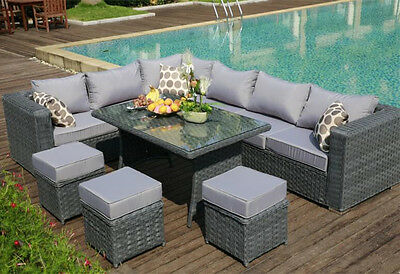 9 SEAT 1 dining TABLE Rattan Wicker Garden Furniture Conservatory Sofa SET GREY