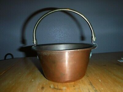 Vintage copper & brass pot with handle