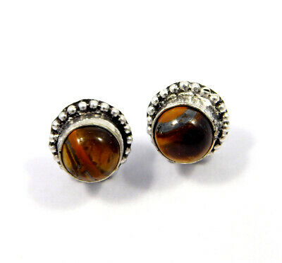 Tiger's Eye .925 Silver Plated Handmade Stud Earring Jewelry JC8224