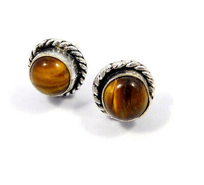 Tiger's Eye .925 Silver Plated Handmade Stud Earring Jewelry JC8207