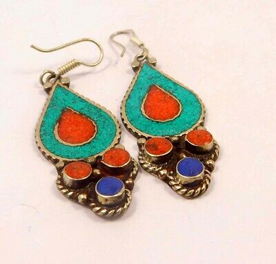 Turquoise , Lapis & Coral .925 Silver Plated Handmade Earring Jewelry JC6584