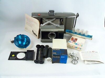 Polaroid Model J66 Roll Film Folding Land Camera With Flash Bulbs Color Adapter