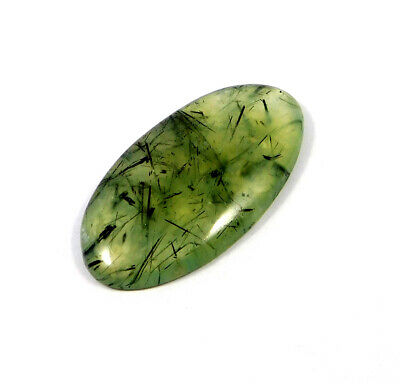 84 Cts. 100% Natural Green Needle Prehnite Rutile Cabochon Gemstone ARM18446