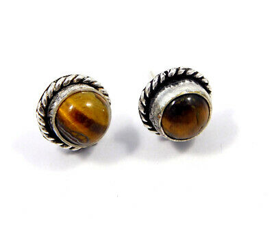 Tiger's Eye .925 Silver Plated Handmade Stud Earring Jewelry JC8203