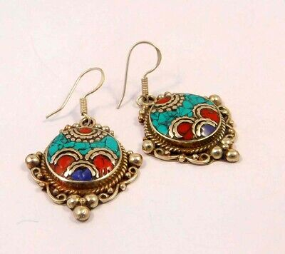 Turquoise , Lapis & Coral .925 Silver Plated Handmade Earring Jewelry JC6576