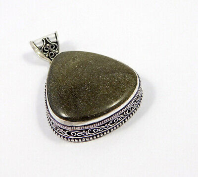 AAA Silver Eye Obsidian .925 Silver Plated Carving Pendant Jewelry JC7502