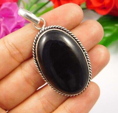 AAA Black Eye Obsidian .925 Silver Plated Handmade Pendant Jewelry JC3774