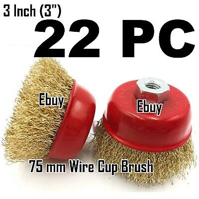 "22 PC 3"" x 5/8"" Arbor FINE Crimped Wire Cup Wheel Brush - For Angle Grinders"