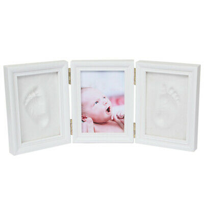 Newborn Baby Clean Footprint Handprint Tri-fold Gift Photo Frame Desk Decoration