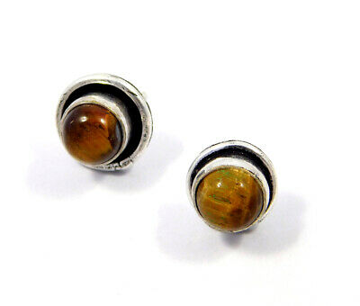 Tiger's Eye .925 Silver Plated Handmade Stud Earring Jewelry JC8222
