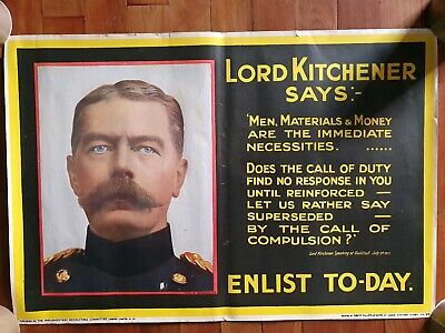 WW1 ORIGINAL POSTER affiche guerre 1914-1918 angleterre LORD KITCHENER SAYS