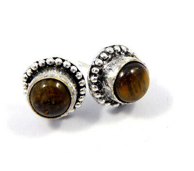 Tiger's Eye .925 Silver Plated Handmade Stud Earring Jewelry JC8201