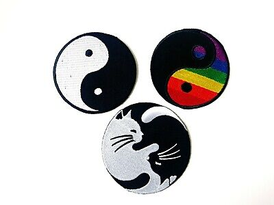 Yin yang Peace Cute Heart Shape Iron on Sew on Embroidered Patch #1763