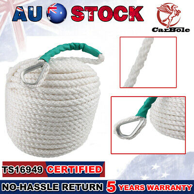 12mm*30m Twisted Braid Anchor Rope for Boat Mooring Docking with Thimble 12592LB