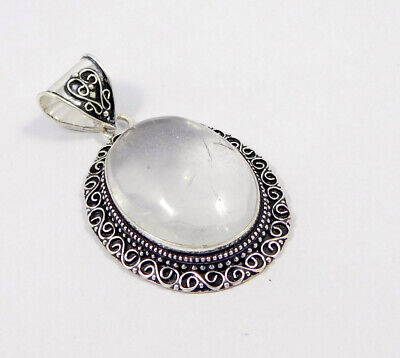 Crystal Quartz .925 Silver Plated Carving Pendant Jewelry JC7434