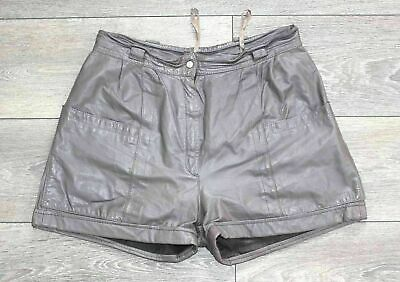 Women's Vintage YESSICA High Waist Pleated Mocha 100% Leather Shorts sSize W30