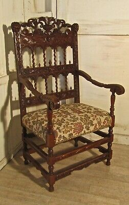French 19th Century Carved Oak Arm Chair, Throne or Hall Chair