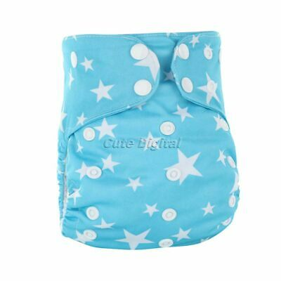 Reusable Bamboo Cotton Baby Diapers Nappy with Sewn in Inserts Adjustable Size