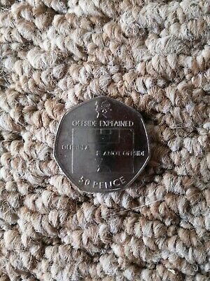 VERY RARE. 50p Olympic Football Coin offside Rule 2011 Circulated Condition