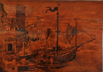 Stunning marquetry table from the 18th century, Harbour scene