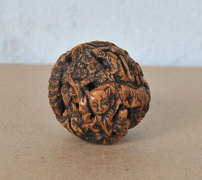 Chinese carved walnut,