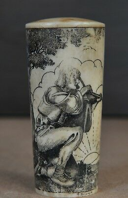 Antique painted, engraved bone carving, knife handle