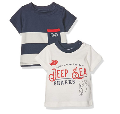 'Twins' T-Shirts for Baby Boys - PACK OF 2 - SIZE 50 0-1 month Newborn Sea Shark