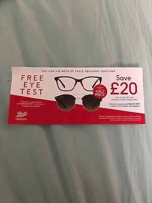Boots Opticians Eye Test Save £20 Glasses Or Sunglasses Voucher Valid 31 Oct 19