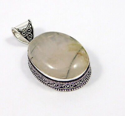 Black Needle Rutile .925 Silver Plated Carving Pendant Jewelry JC7491