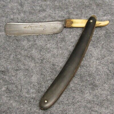 "Joseph Rodgers & Sons 6-3/8"" Straight Razor Horn Handles Bone Tang Damaged"