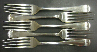 Victorian Set Of 5 Silver Plated Old English Patterned Dinner Forks - A Rodgers