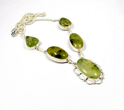 Prehnite Rutile  .925 Silver Plated Handmad Necklace Jewelry KD6