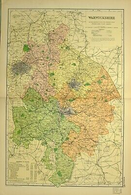 1902 Antique Map Warwickshire Stratford Upon Avon Rugby Coventry Nuneaton
