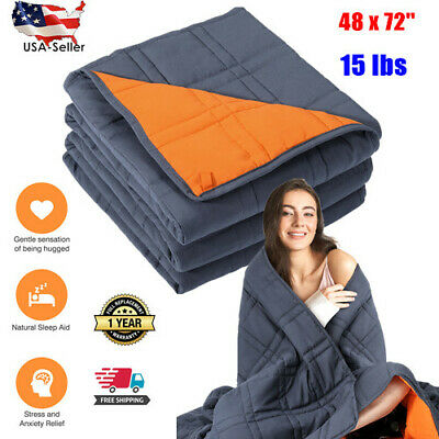 Weighted Blanket Adults Sensory Therapy Deep Sleep Reduce Anxiety15lbs 48x72''