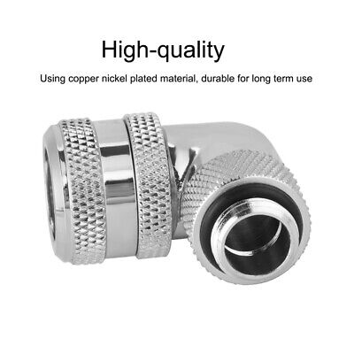 90°Water Cool Fitting Copper Nickel Plating for 10x14 PETG Acrylic Tube Silver