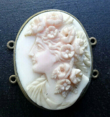 antique Victorian carved conch shell cameo lady flower panel pendant -H58