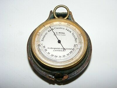 19th C. POCKET BAROMETER WITH THERMOMETER BY E. G. WOOD OF LONDON, WORKING