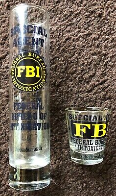 (2) FBI Federal Bureau of INTOXICATION PCB Shot Glasss Bar Shooter! 8 Inch!