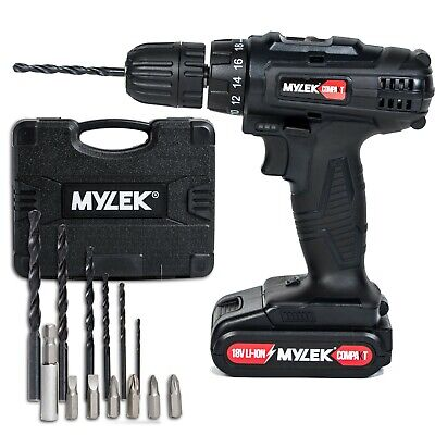 Compakt 18V Cordless Drill Set Driver Screwdriver Lithium Ion 1 Hour Fast Charge