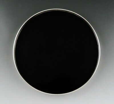 Reed & Barton Sterling Silver Black Plastic Round Tray Serving Platter 7 5/8""