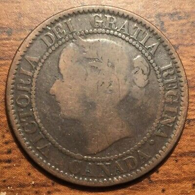 1859 Canada One Cent Queen Victoria Young Head Coin